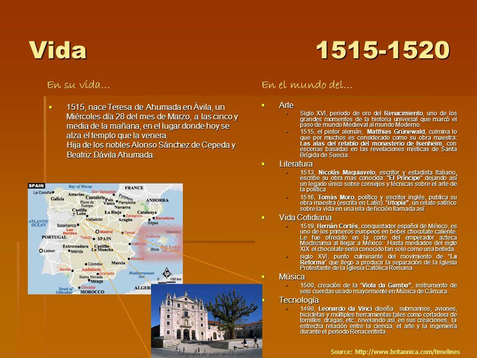Vida1515-1520 1515, nace Teresa de Ahumada en Ávila, un Miércoles día 28 del mes de Marzo, a las cinco y media de la mañana, en el lugar donde hoy se