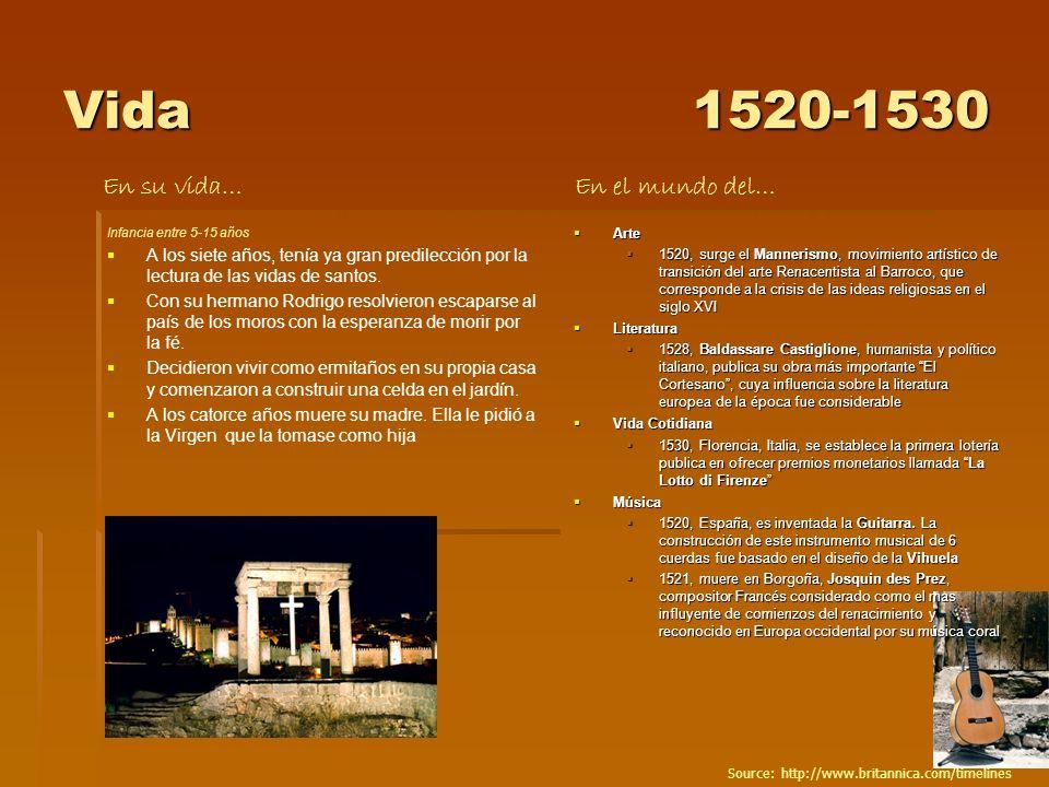 Vida1520-1530 Infancia entre 5-15 años A los siete años, tenía ya gran predilección por la lectura de las vidas de santos. Con su hermano Rodrigo reso