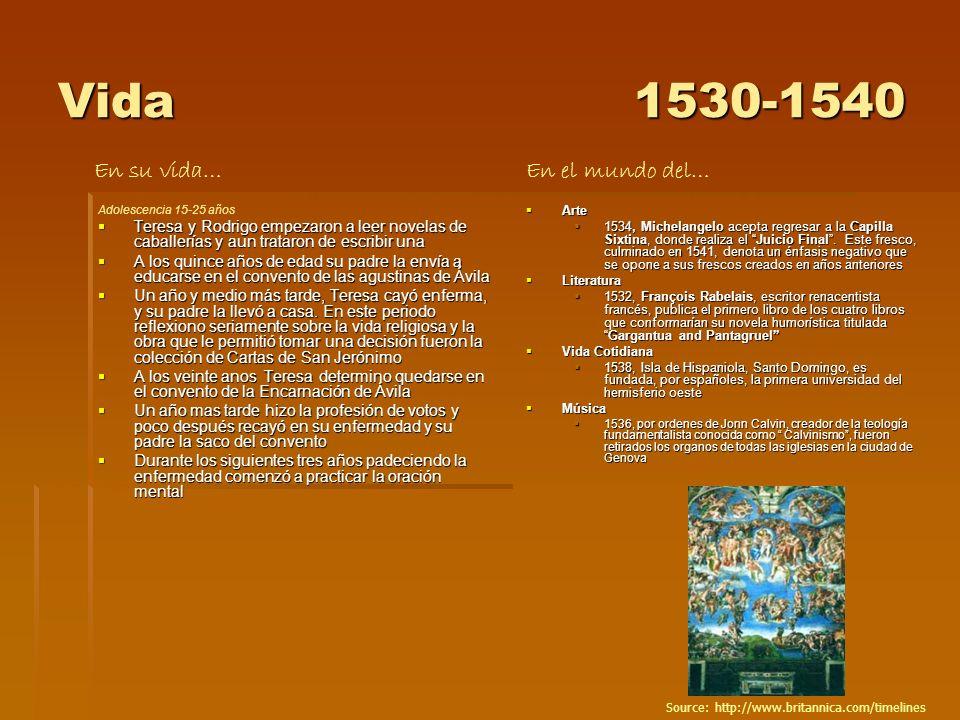 Vida1530-1540 Adolescencia 15-25 años Teresa y Rodrigo empezaron a leer novelas de caballerías y aun trataron de escribir una Teresa y Rodrigo empezar