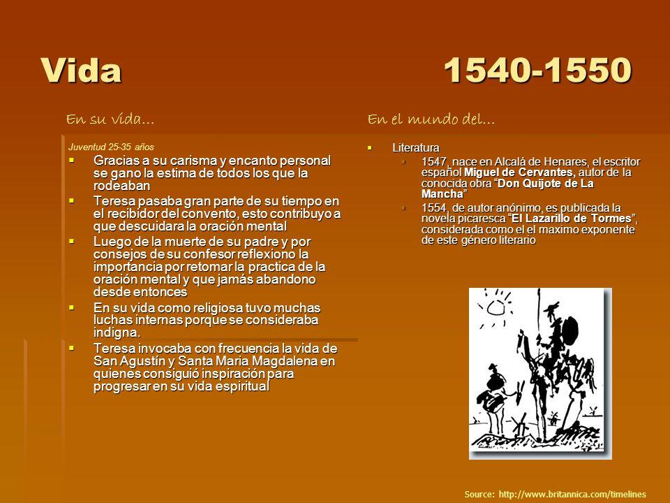 Vida1540-1550 Juventud 25-35 años Gracias a su carisma y encanto personal se gano la estima de todos los que la rodeaban Gracias a su carisma y encant