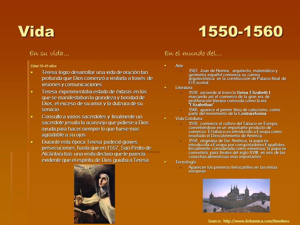 Vida1550-1560 Edad 35-45 años Teresa logro desarrollar una vida de oración tan profunda que Dios comenzó a visitarla a través de visiones y comunicaci