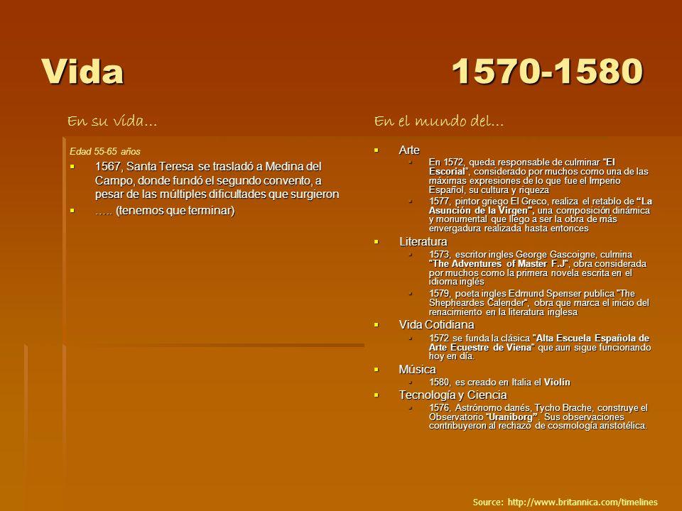 Vida1570-1580 Edad 55-65 años 1567, Santa Teresa se trasladó a Medina del Campo, donde fundó el segundo convento, a pesar de las múltiples dificultade