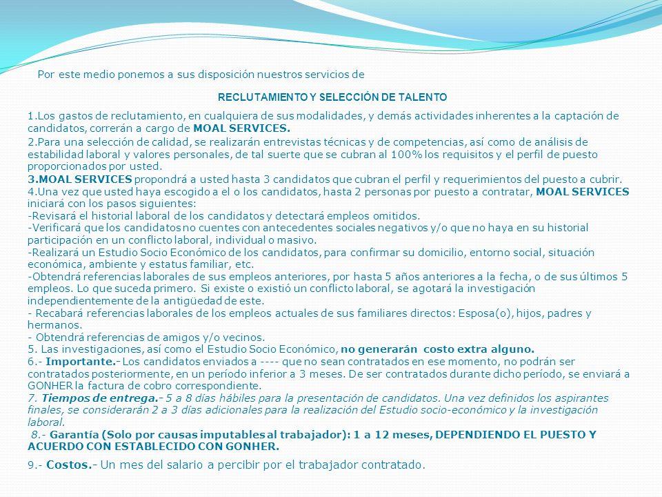 Propuesta General de Servicios Recursos Humanos MOAL SERVICES IDENTIFICADOS CONTIGO Monterrey, Nuevo León.