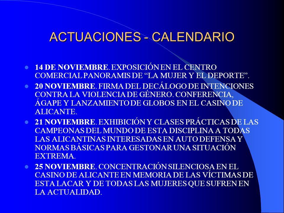 ACTUACIONES - CALENDARIO 14 DE NOVIEMBRE. EXPOSICIÓN EN EL CENTRO COMERCIAL PANORAMIS DE LA MUJER Y EL DEPORTE. 20 NOVIEMBRE. FIRMA DEL DECÁLOGO DE IN