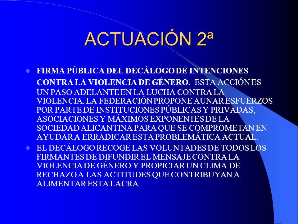 ACTUACIÓN 2ª FIRMA PÚBLICA DEL DECÁLOGO DE INTENCIONES CONTRA LA VIOLENCIA DE GÉNERO. ESTA ACCIÓN ES UN PASO ADELANTE EN LA LUCHA CONTRA LA VIOLENCIA.