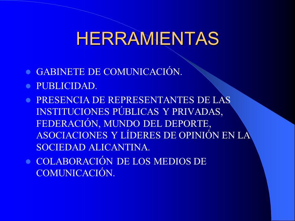 HERRAMIENTAS GABINETE DE COMUNICACIÓN. PUBLICIDAD. PRESENCIA DE REPRESENTANTES DE LAS INSTITUCIONES PÚBLICAS Y PRIVADAS, FEDERACIÓN, MUNDO DEL DEPORTE