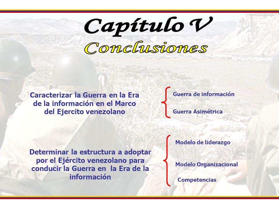 Caracterizar la Guerra en la Era de la información en el Marco del Ejercito venezolano Determinar la estructura a adoptar por el Ejército venezolano p
