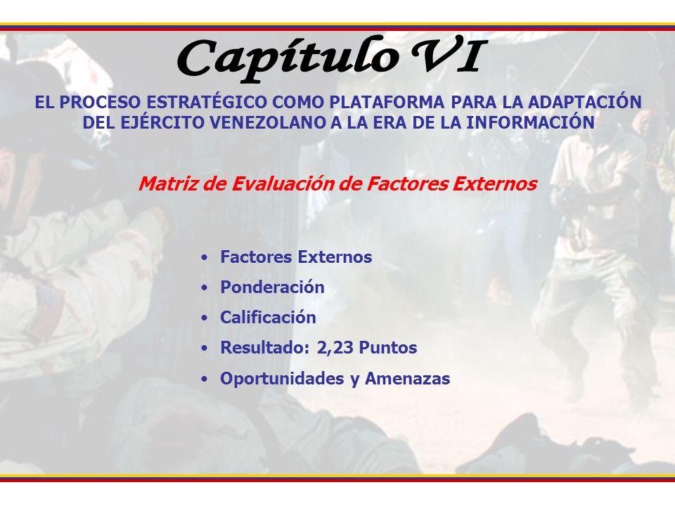 EL PROCESO ESTRATÉGICO COMO PLATAFORMA PARA LA ADAPTACIÓN DEL EJÉRCITO VENEZOLANO A LA ERA DE LA INFORMACIÓN Matriz de Evaluación de Factores Externos