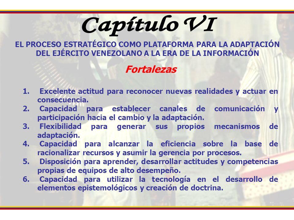 EL PROCESO ESTRATÉGICO COMO PLATAFORMA PARA LA ADAPTACIÓN DEL EJÉRCITO VENEZOLANO A LA ERA DE LA INFORMACIÓN Fortalezas 1. Excelente actitud para reco