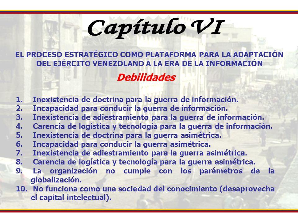EL PROCESO ESTRATÉGICO COMO PLATAFORMA PARA LA ADAPTACIÓN DEL EJÉRCITO VENEZOLANO A LA ERA DE LA INFORMACIÓN Debilidades 1. Inexistencia de doctrina p