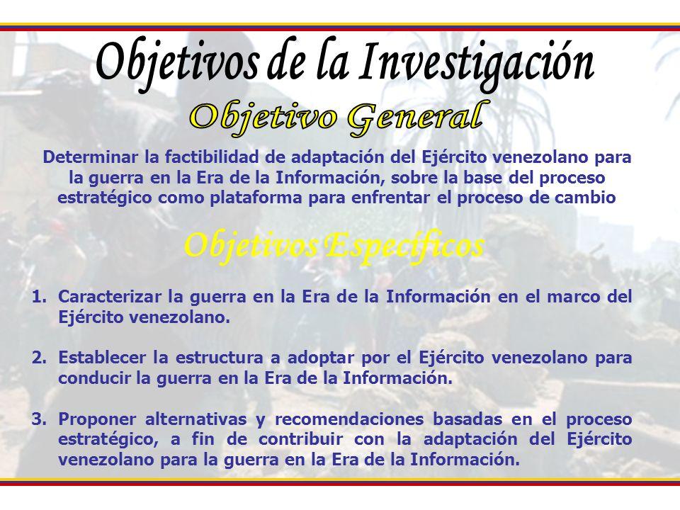 Caracterizar la Guerra en la Era de la información en el Marco del Ejercito venezolano Determinar la estructura a adoptar por el Ejército venezolano para conducir la Guerra en la Era de la información Guerra de información Guerra Asimétrica Modelo de liderazgo Modelo Organizacional Competencias
