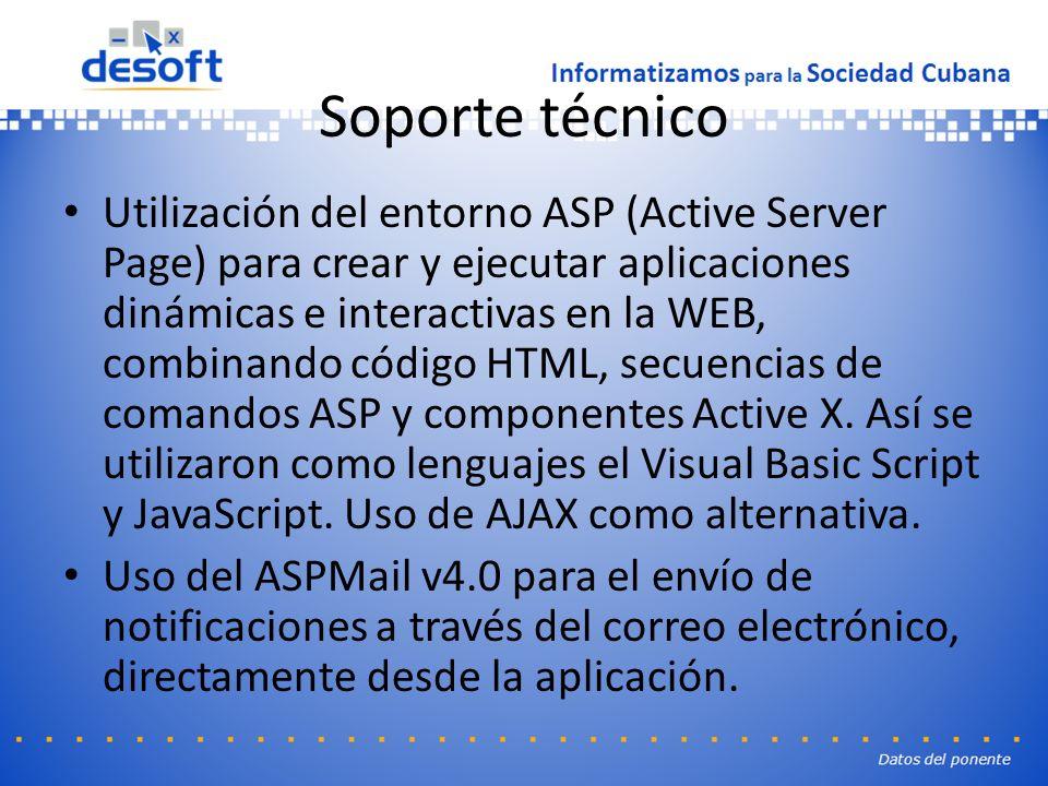 Soporte técnico Utilización del entorno ASP (Active Server Page) para crear y ejecutar aplicaciones dinámicas e interactivas en la WEB, combinando código HTML, secuencias de comandos ASP y componentes Active X.