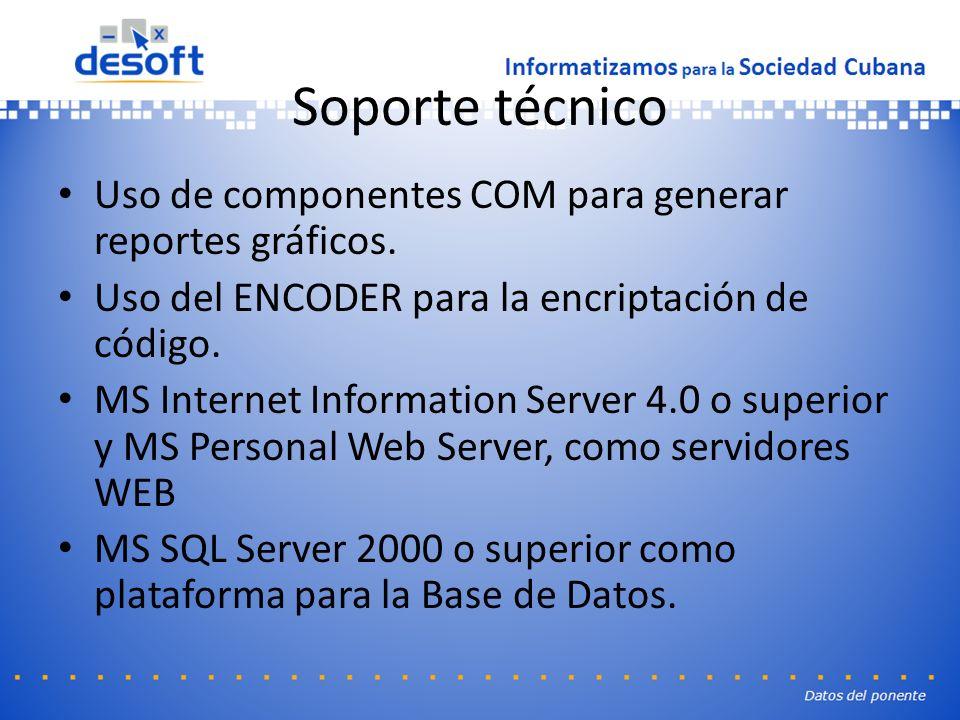 Soporte técnico Uso de componentes COM para generar reportes gráficos.