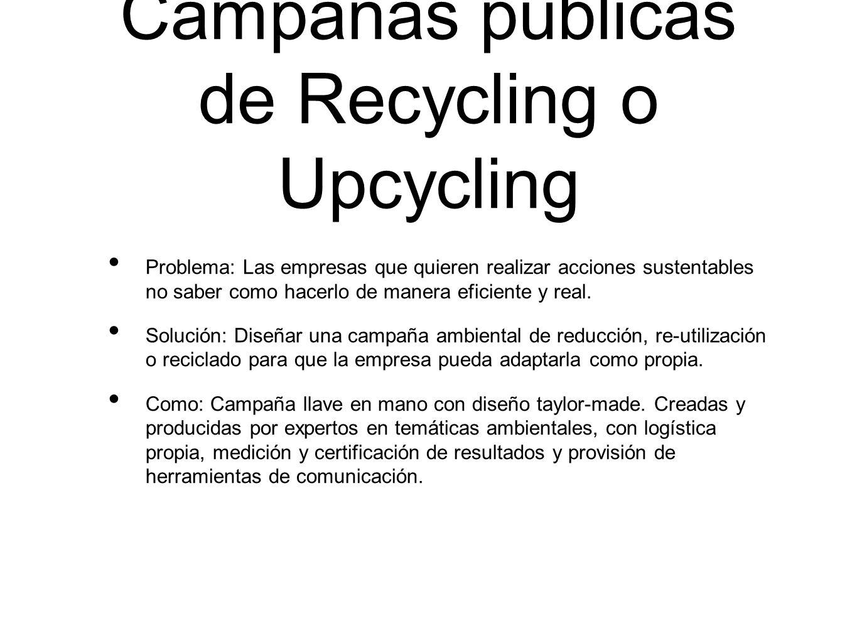 Campañas públicas de Recycling o Upcycling Problema: Las empresas que quieren realizar acciones sustentables no saber como hacerlo de manera eficiente