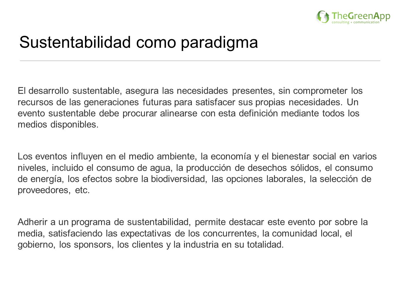 Sustentabilidad como paradigma El desarrollo sustentable, asegura las necesidades presentes, sin comprometer los recursos de las generaciones futuras