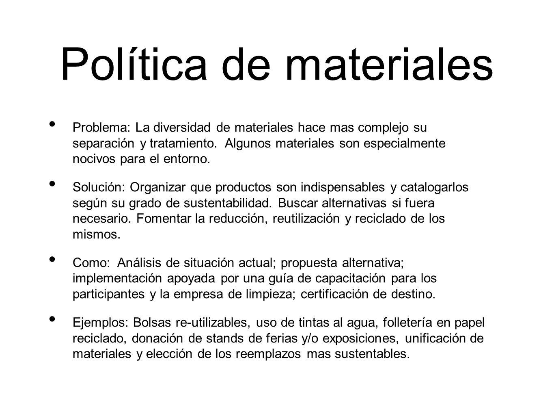 Política de materiales Problema: La diversidad de materiales hace mas complejo su separación y tratamiento. Algunos materiales son especialmente nociv