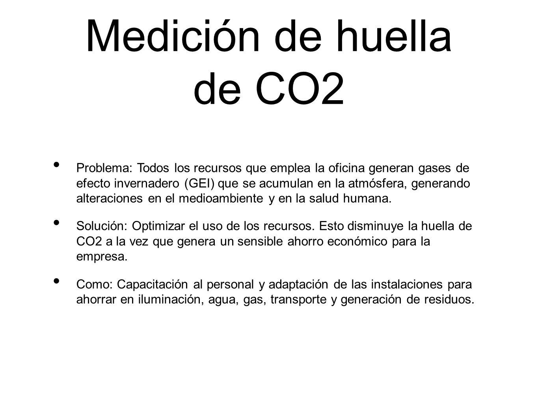 Medición de huella de CO2 Problema: Todos los recursos que emplea la oficina generan gases de efecto invernadero (GEI) que se acumulan en la atmósfera