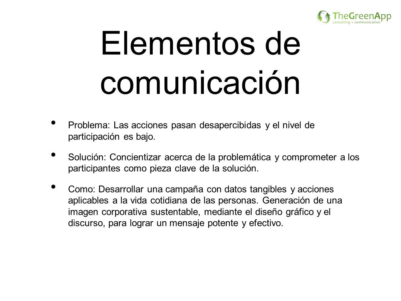 Elementos de comunicación Problema: Las acciones pasan desapercibidas y el nivel de participación es bajo. Solución: Concientizar acerca de la problem