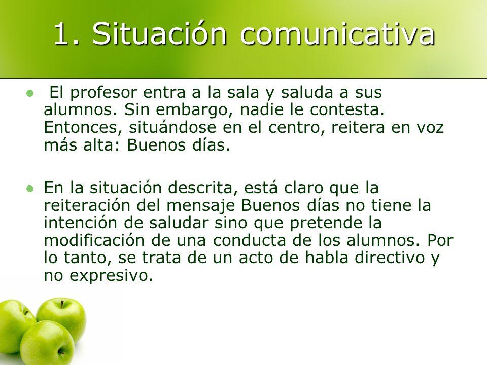 1. Situación comunicativa El profesor entra a la sala y saluda a sus alumnos. Sin embargo, nadie le contesta. Entonces, situándose en el centro, reite