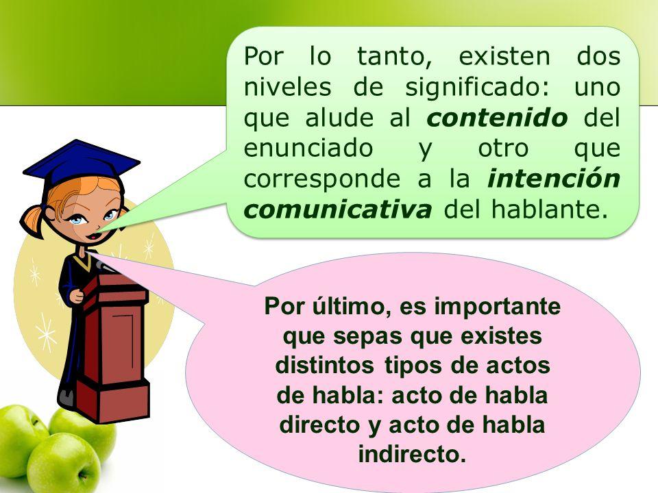 Por lo tanto, existen dos niveles de significado: uno que alude al contenido del enunciado y otro que corresponde a la intención comunicativa del habl