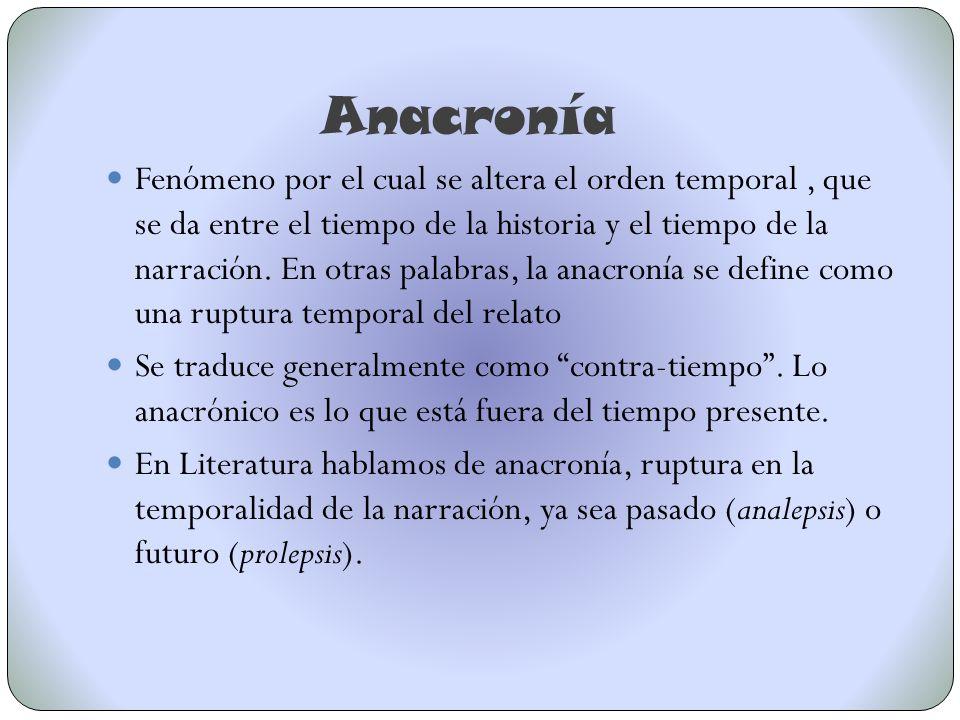 Anacronía Fenómeno por el cual se altera el orden temporal, que se da entre el tiempo de la historia y el tiempo de la narración. En otras palabras, l