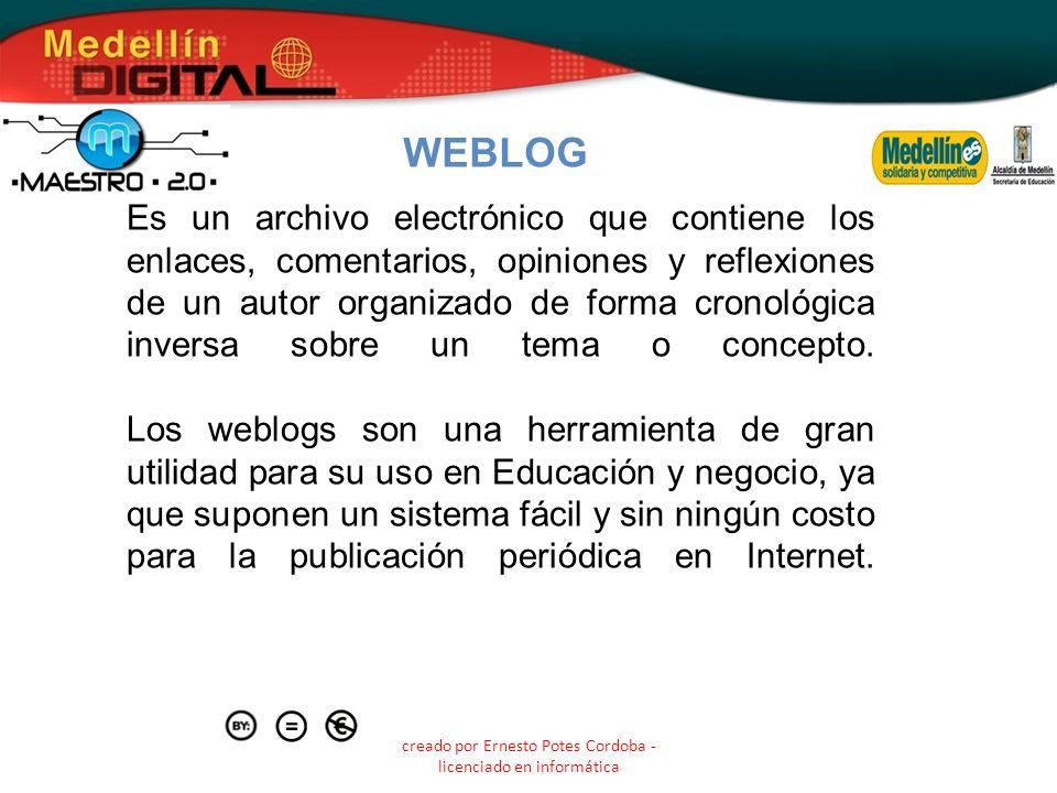creado por Ernesto Potes Cordoba - licenciado en informática Es un archivo electrónico que contiene los enlaces, comentarios, opiniones y reflexiones