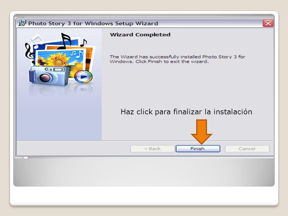 Escoge esta opción para comenzar un proyecto Haz click para continuar