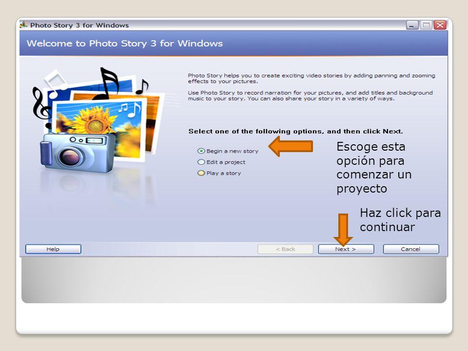 Escoge esta opción para importar tus fotos