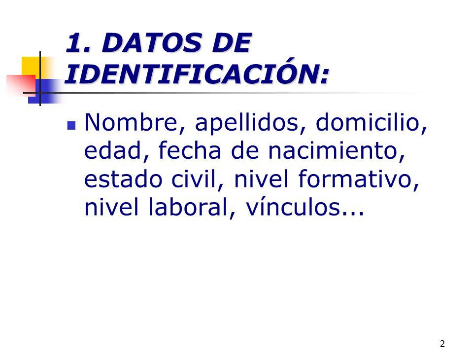 2 1. DATOS DE IDENTIFICACIÓN: Nombre, apellidos, domicilio, edad, fecha de nacimiento, estado civil, nivel formativo, nivel laboral, vínculos...