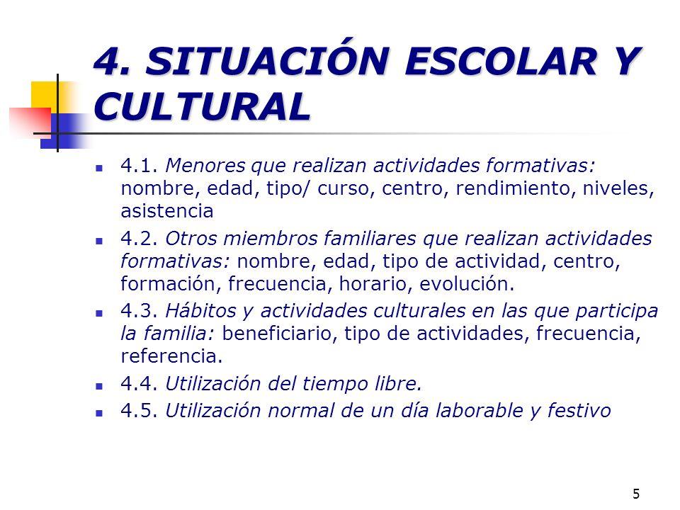 5 4. SITUACIÓN ESCOLAR Y CULTURAL 4.1. Menores que realizan actividades formativas: nombre, edad, tipo/ curso, centro, rendimiento, niveles, asistenci