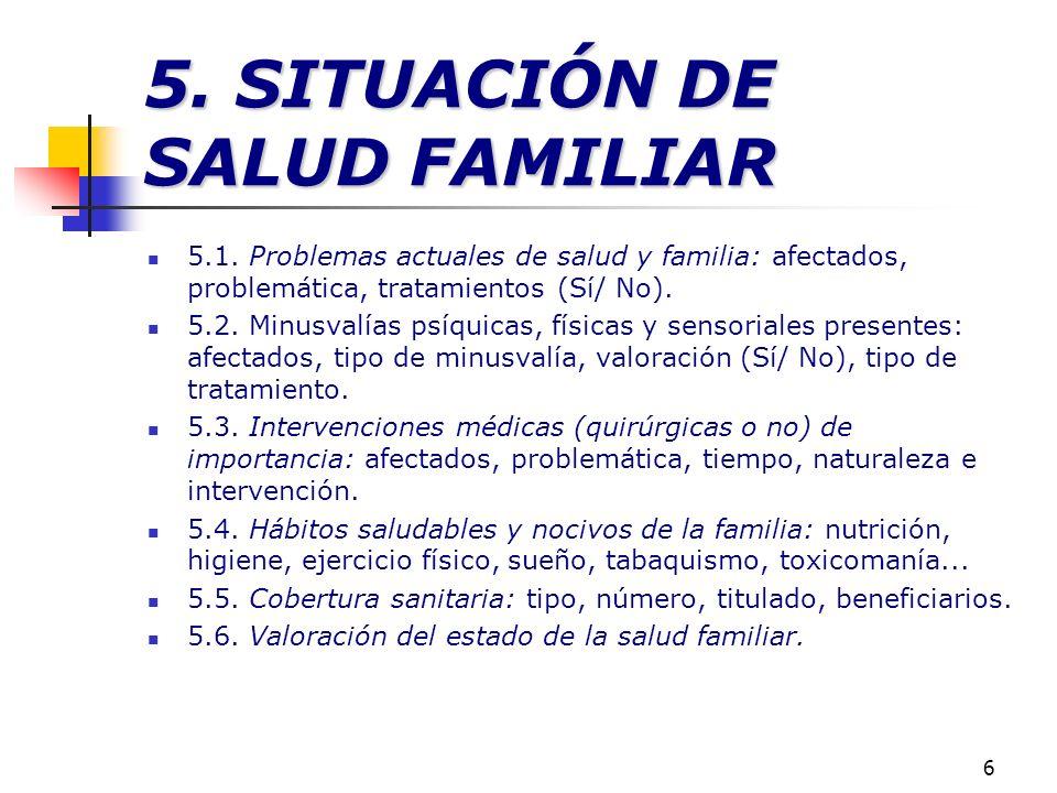6 5. SITUACIÓN DE SALUD FAMILIAR 5.1. Problemas actuales de salud y familia: afectados, problemática, tratamientos (Sí/ No). 5.2. Minusvalías psíquica