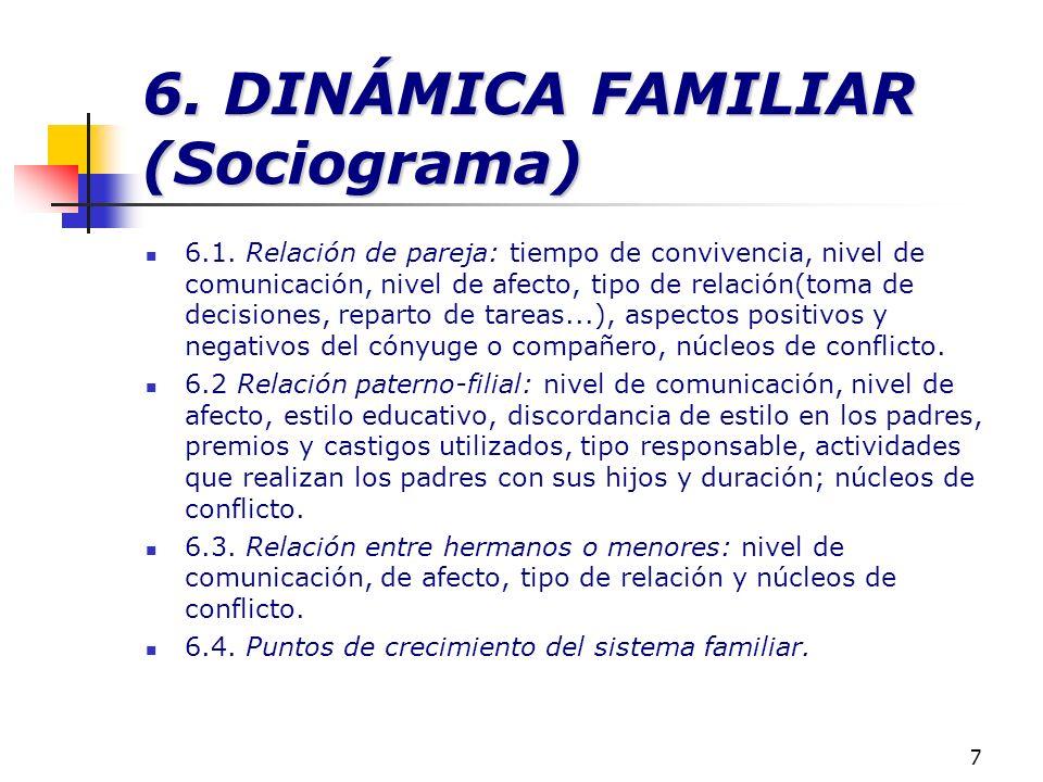 7 6. DINÁMICA FAMILIAR (Sociograma) 6.1. Relación de pareja: tiempo de convivencia, nivel de comunicación, nivel de afecto, tipo de relación(toma de d