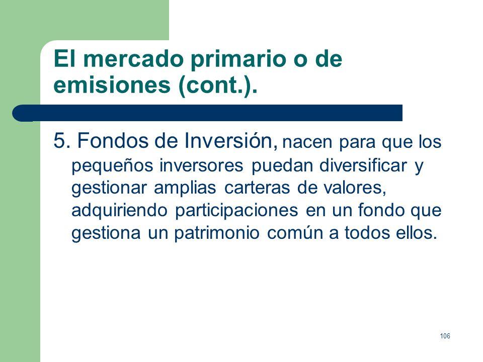 105 El mercado primario o de emisiones (cont.). 3. Acciones, ya comentadas. 4. Derivados, se basan en activos financieros clásicos (monetarios o de ca