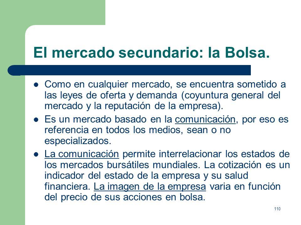 109 El mercado secundario: la Bolsa. Aunque la emisión de valores es libre, para cotizar en Bolsa es necesario cumplir los siguientes requisitos: 1. N