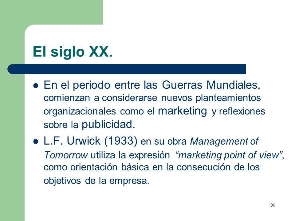 135 El siglo XX. Jules H. Fayol, enumera los principios de la eficiencia empresarial, propone una división de la dirección que permanecen en la actual