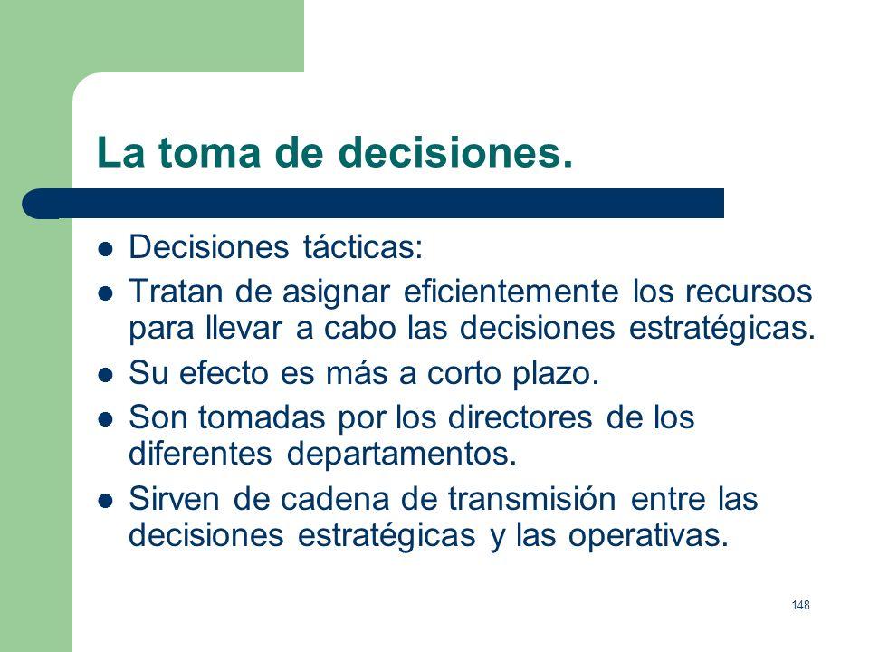 147 La toma de decisiones. Decisiones estratégicas: Son las más importantes y las menos numerosas. Condicionan el futuro de la empresa, tienen un cará