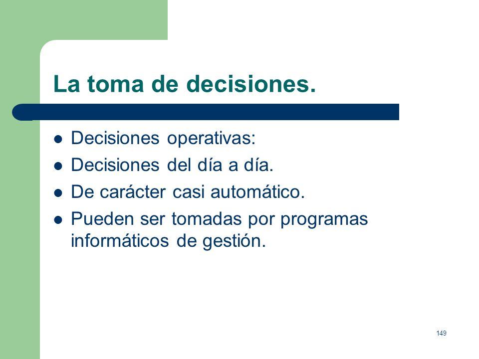 148 La toma de decisiones. Decisiones tácticas: Tratan de asignar eficientemente los recursos para llevar a cabo las decisiones estratégicas. Su efect