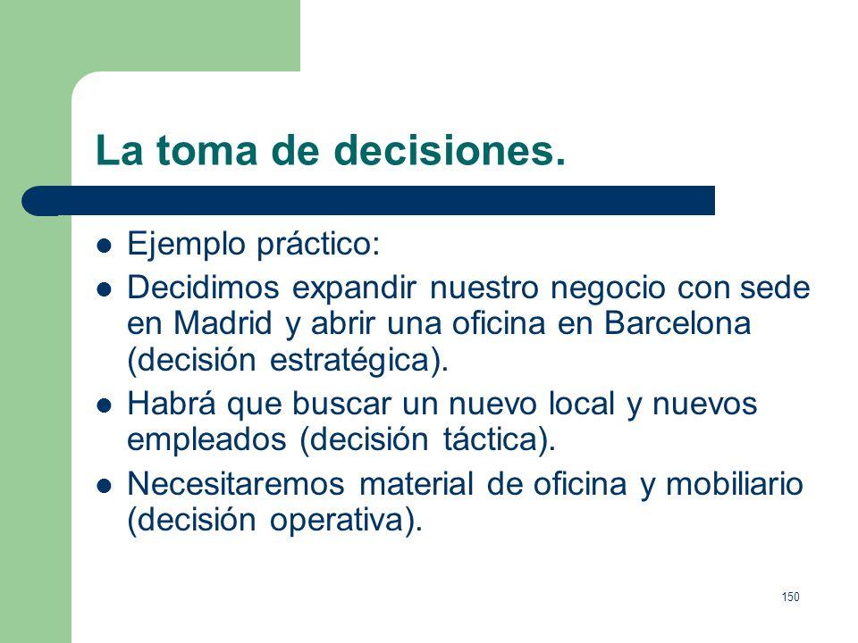 149 La toma de decisiones. Decisiones operativas: Decisiones del día a día. De carácter casi automático. Pueden ser tomadas por programas informáticos