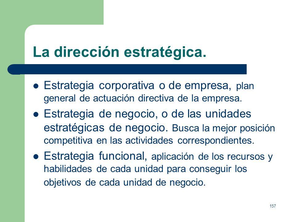 156 La dirección estratégica. Definición: Un medio para establecer los propósitos de la organización en términos de sus objetivos a largo plazo, sus p