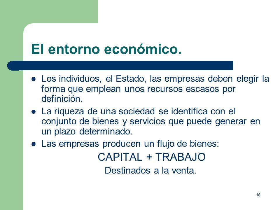 15 El entorno económico. ¿Por qué necesitamos conocer el entorno económico? 1. Por su repercusión en el mundo de la empresa. Las empresas dependen de