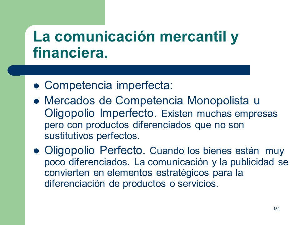 160 La comunicación mercantil y financiera. Tipos de mercado: Monopolio. Si existe un fuerte grado de monopolio no es necesaria la publicidad, se pued