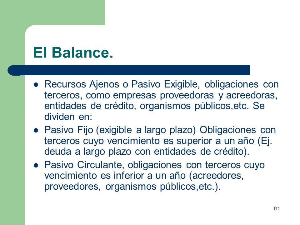 171 El Balance. Fondos o Recursos Propios, obligaciones y deudas que la empresa tiene contraídas en un momento determinado con los propietarios y con