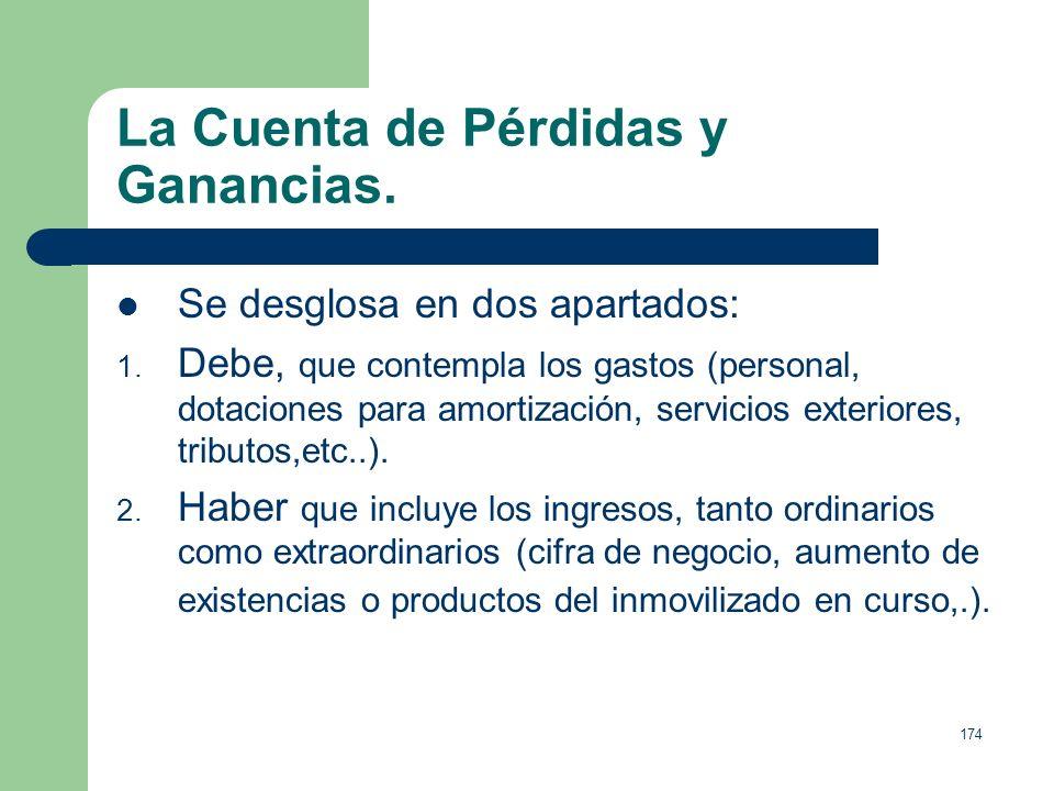 173 La Cuenta de Pérdidas y Ganancias. Se refiere a un periodo concreto, normalmente el ejercicio económico, con carácter dinámico. Recoge debidamente