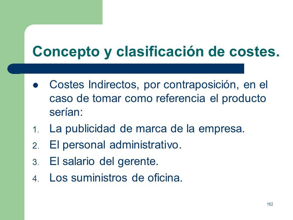 181 Concepto y clasificación de costes. Costes Directos aquellos que tomando una referencia (producto, línea, departamento, secciones, la propia empre