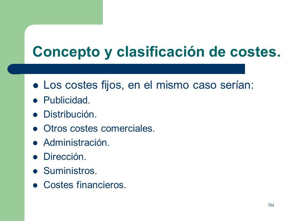 183 Concepto y clasificación de costes. Costes variables, son aquellos que varían proporcionalmente al nivel de actividad (ventas) de la empresa. 1. M