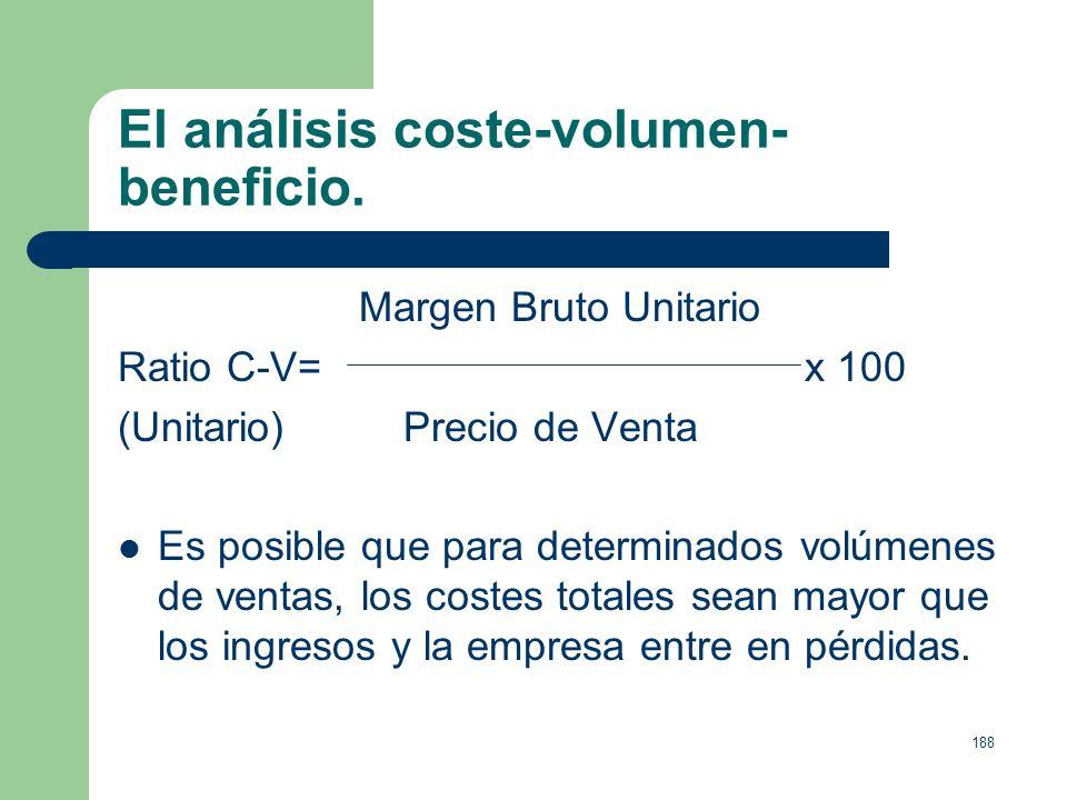 187 El análisis coste-volumen- beneficio. El ratio coste-volumen-total o contribución al volumen, representa el porcentaje de las ventas que contribui