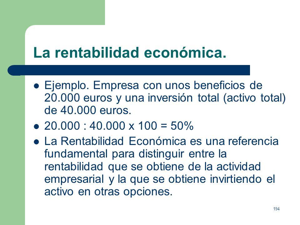 193 La rentabilidad económica. La Rentabilidad Económica o Rentabilidad Global de la Empresa, es el porcentaje que supone el beneficio sobre el total