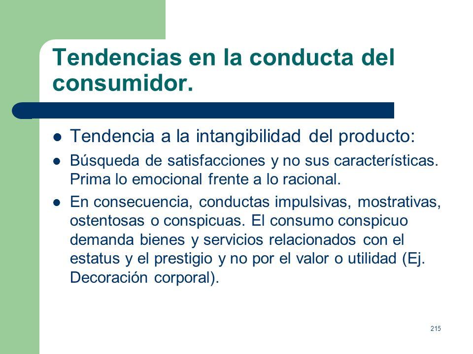 214 Tendencias en la conducta del consumidor. Entre los cambios sociales producidos en las últimas décadas destacan: 1. Mayor interés por la calidad d