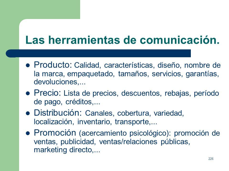 225 Las herramientas de comunicación. Las 4 P: Producto, precio, place (distribución) y promoción. Las 4 C: Consumidor (necesidades y deseos), coste p