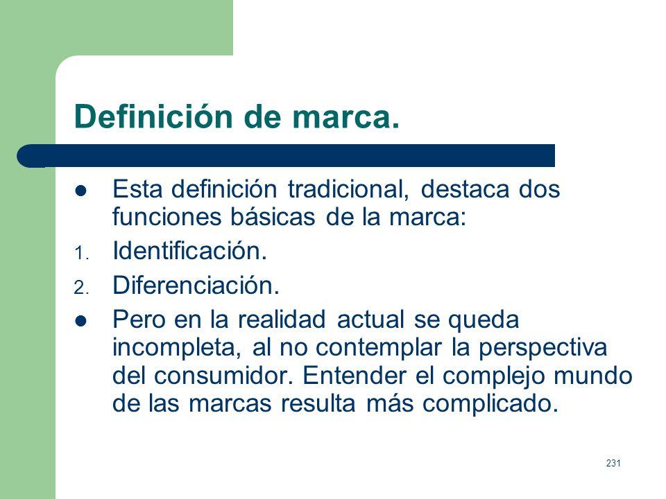230 Definición de marca. Definición desde la perspectiva del marketing.Para la Asociación de Marketing una marca es: Es un nombre, un término, una señ